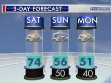 Saturday will be warm before temperatures dip again into the 50s.