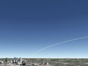 A simulated view from central North Carolina showing the rocket's path (Credit: Tony Rice/AGI)