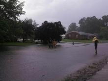 Streets overflowed with water Tuesday in Roanoke Rapids.