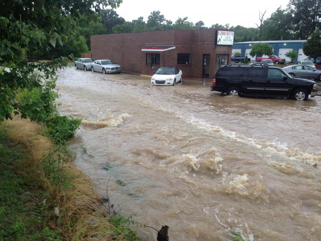 Rain from Tropical Storm Andrea flooded Liberty Used Motors in Clayton on June 7, 2013. (Photo courtesy of John Payne)