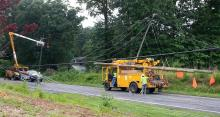 Utility poles fell on Carbonton Road in Sanford during a thunderstorm on June 24, 2013.