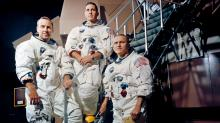The crew of Apollo-8 (l-r) James Lovell, William Anders, Frank Borman at the Apollo Mission Simulator (NASA/KSC)