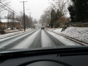 Snowy roads in Roxboro (photo by Tracie Dunn)