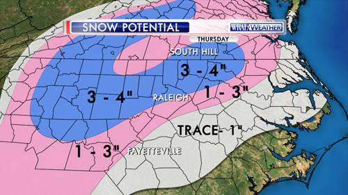 Snow forecast Thursday