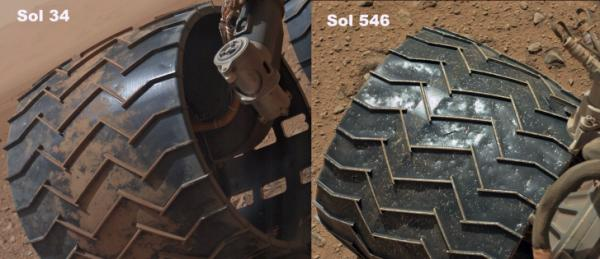 Wear is evident when comparing images from Curiosity's 34th and 546th day on Mars. (Photo: NASA/JPL-Caltech)