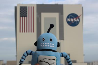 "Kelvin, official ""spokesbot"" for the NC Science Festival, on a recent visit to the Kennedy Space Center (Credit: Tony Rice)"