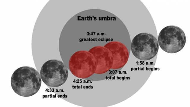 A total lunar eclipse will occur April 15 between 3:07 a.m. EDT and 4:25 a.m. EDT (Credit: Tony Rice)