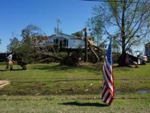 Two days after half a dozen tornadoes touched down in counties across eastern North Carolina, Gov. Pat McCrory toured the damaged areas and met with residents.
