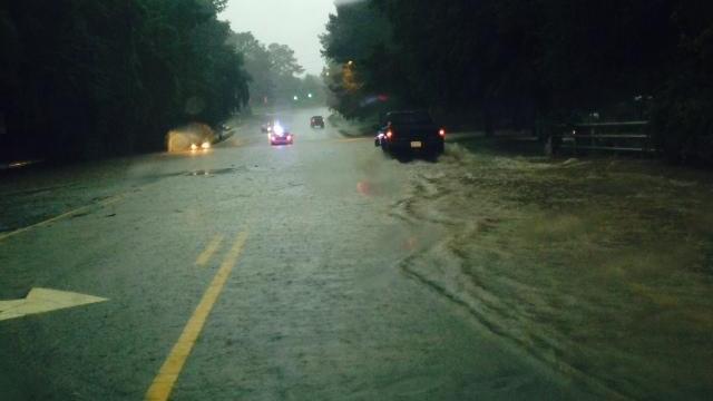 Flooding on Avent Ferry Road near Gorman Street