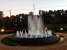 Ice forms on parts of the WRAL fountain Nov. 19, 2014. (Photo by Derek Medlin)
