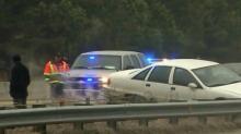 Cars slip and slide on I-540