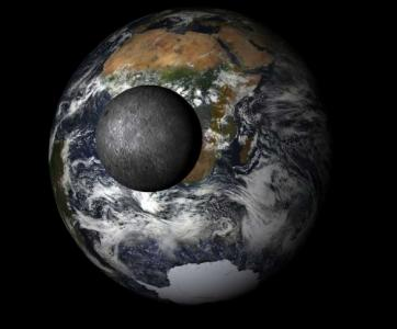 Simulated view of Earth from the EPIC camera aboard DSCOVR (NASA)