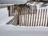Snow falls on NC beaches