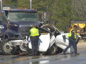 One person was killed Friday morning when a pickup slammed into a rock hauler on N.C. Highway 87 north of Spring Lake.