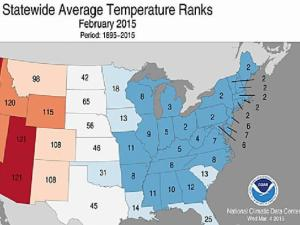 Temperatures statewide in February were 'Much Below Average' as shown in this map from the Nationla Climatci Data Center.