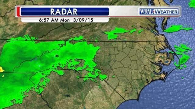 Regional radar mosaic from Monday morning, Mar 9, 2014.