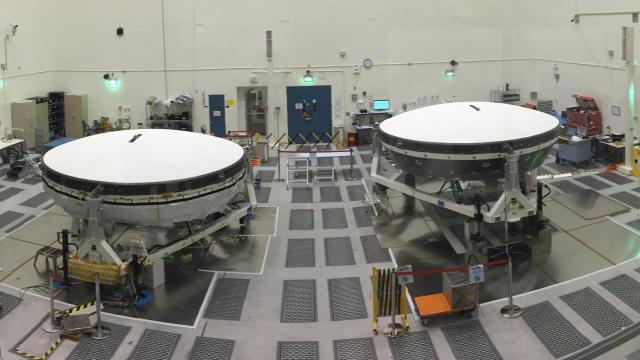 Low Density Supersonic Decelerator (LDSD) near completion in a JPL cleanroom (Credit: Rice)