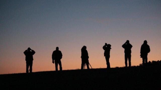 Sky watchers search for comet PANSTARRS near sunset. (Credit: CHAOS)