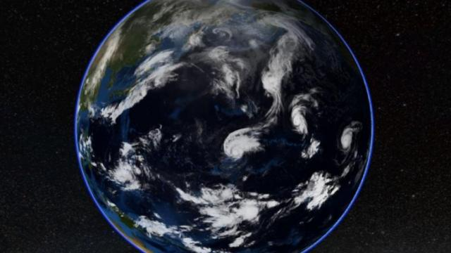 A sample view from Science on a Sphere Explorer, showing worldwide satellite imagery.