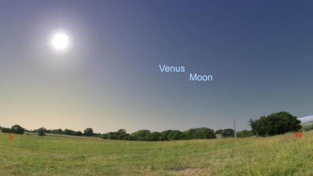 Look to the SW at 12:40 p.m., Venus will disappear as the moon moves between Earth and Venus.  Look again at 2:00 p.m. much lower and to the right for Venus to reemerge (Credit: Stellarium/Rice)