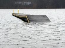 Water levels at Falls Lake rose 6 feet in a week because of heavy rains before Christmas.
