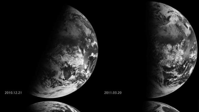 Earth's tilt is evident in this 2011 collection of images taken during the December solstice (upper left), March equinox (upper right), June solstice (lower left) and September equinox (lower right) (Source: NASA, EUMETSAT)