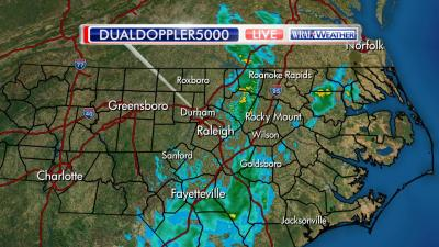 This is what our DualDoppler 5000 looked like at just after 7 AM, with a broken band of showers stretching from north to south across central and eastern sections of our viewing area. This area should gradually shift east by mid-morning, and by lunchtime any showers should be rather spotty in nature. Later in the afternoon, we may see an increase in scattered showers and potentially a strong or severe storm in spots, but most of us will have significant stretches of dry weather as well.