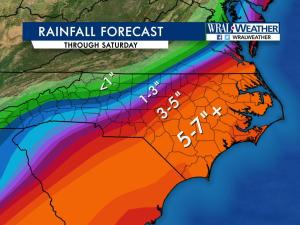 Rainfall projection through Saturday, Sept. 3, 2016, as of 4 p.m. Thursday.