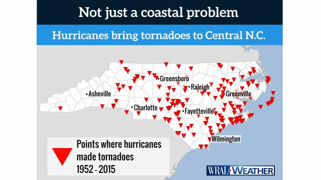 Hurricanes spawn tornadoes all across the Tar Heel State