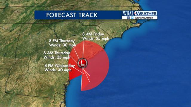 A major adjustment to the forecast track of Tropical Storm Julia from the National Hurricane Center. This newest track and intensity forecast has the storm farther to the east and remaining a tropical depression through Friday. I am not totally convinced of this track as other models keep it offshore and have it growing and moving farther east and north. It is not likely to move into North Carolina as features in the atmosphere should keep it to our south. This is one to watch as it could linger to our south through the weekend.