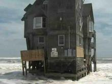 """A Rodanthe house made popular by the movie """"Nights in Rodanthe"""" was closed to renters Saturday, Aug. 22, 2009, when Hurricane Bill brought high surf."""