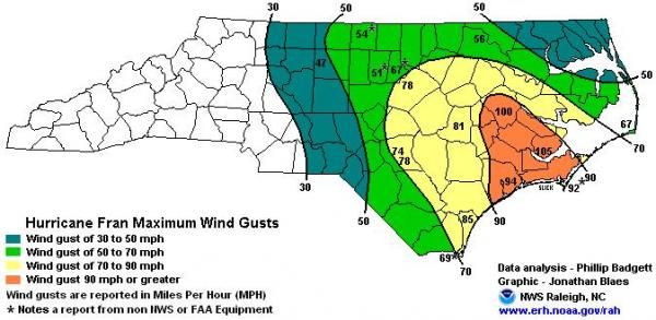 The maximum wind speeds of Hurricane Fran (Photo courtesy National Weather Service, Raleigh)
