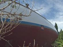 """Hurricane Irene grounded the sailboat, """"Margaret."""""""