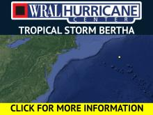Forecast Track for Tropical Storm Bertha (basic)