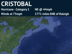 Forecast Track for Post-Tropical Cyclone Cristobal (detailed)