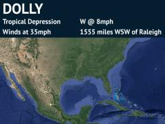 Forecast Track for Tropical Storm Dolly (detailed)