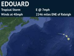 Forecast Track for Hurricane Edouard (detailed)