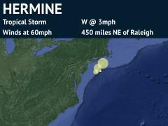 Forecast Track for Tropical Storm Hermine (detailed)