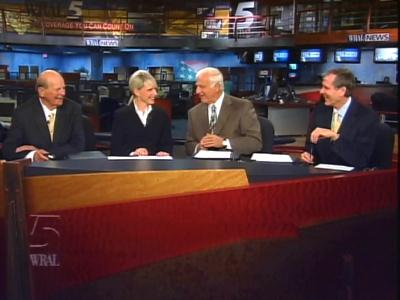 Bob DeBardelaben, Bobbie Battista, Charlie Gaddy and Tom Suiter, left to right, reunite for a special newscast to celebrate WRAL's 50th anniversary.