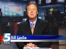 Bill Leslie tears down temporary WRAL set