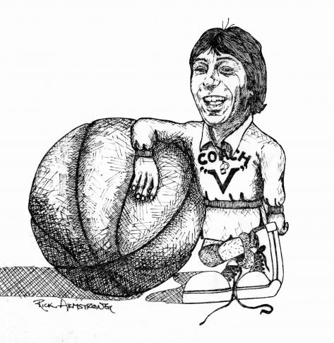 Rick Armstrong drawing of Coach Jim Valvano
