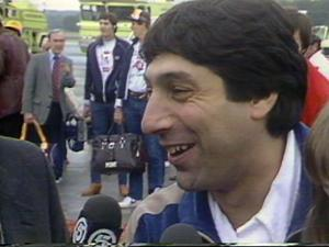 N.C. State Coach Jim Valvano at RDU after the NCAA Championship in 1983.