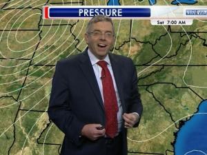 "WRAL chief meteorologist Greg Fishel was busy talking about pressure patterns and isobars during Friday night's 11 p.m. newscast when ""pop"" – a button flew off his suit jacket."