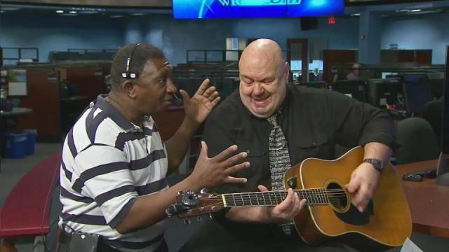 "WRAL broadcast technician Raymond Farrar makes a surprise appearance on WRAL's Morning News on Feb. 18, 2013, and sings ""Ain't No Sunshine."""