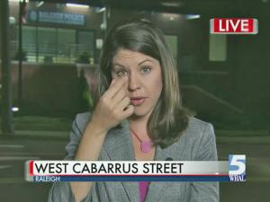 WRAL reporter Tara Lynn loses a contact during a live shot on Sept. 25, 2013.