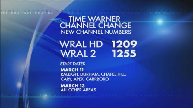Time Warner Cable is changing the lineup. WRAL moves to 1209 for most customers.