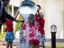 WRAL-TV anchor Lynda Loveland takes the Ice Bucket Challenge to support the ALS Association on Friday, Aug. 15, 2014.