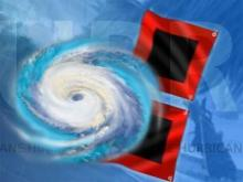 Hurricane and flags