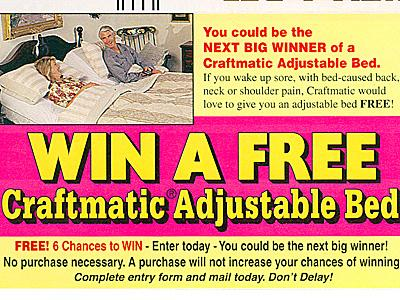 A photo of a mailer Craftmatic sent to consumers.