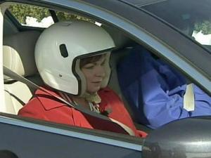 Monica Laliberte rides along as vehicles are tested at Consumer Reports Auto Test Center in East Haddam, Connecticut.